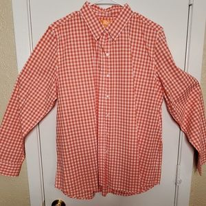 Salmon & White Checked Long-Sleeve Blouse